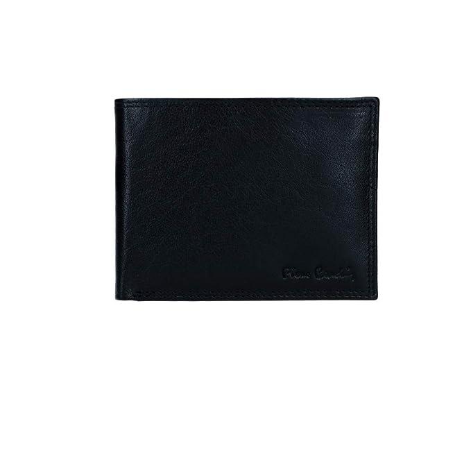PIERRE CARDIN cartera hombre cuero negro con monedero y solapa VA2742
