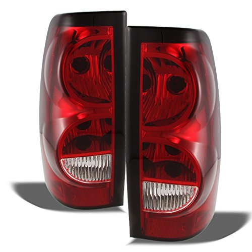 Chevy Silverado Replacement Red Clear Tail Lights Driver/Passenger Rear Lamps Pair (Lamps Chevy)