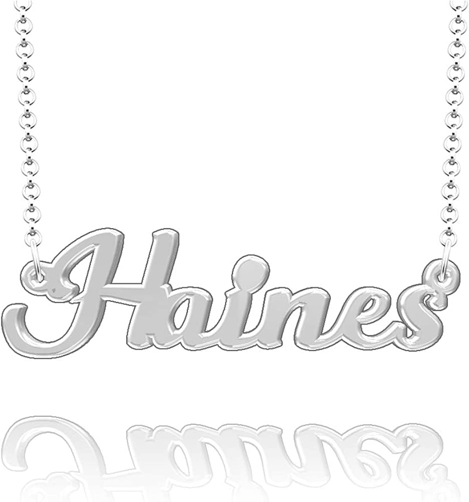 CLY Jewelry Personalized Last Name Necklace Custom Sterling Silver Haines Plate Customized Gift for Family