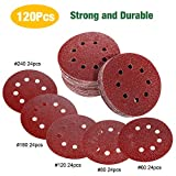 TECCPO Sandpaper 120Pcs, 5 Inch 8 Hole Sandpaper for Random Orbit Sander, 60/80/120/180/240 Grit Velcro Sanding Discs for Grinding and Polishing - TASP23A