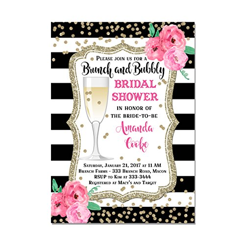 Brunch and Bubbly Bridal Shower Invitation with Black and White Stripes & Watercolor Flowers, Set of 10 invitations with envelopes