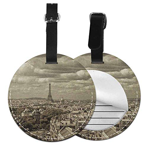 Round luggage tag Paris Bendable City Skyline of Paris with Eiffel and Dark Cloudy Weather Capital France Historical Retro,Diameter3.7
