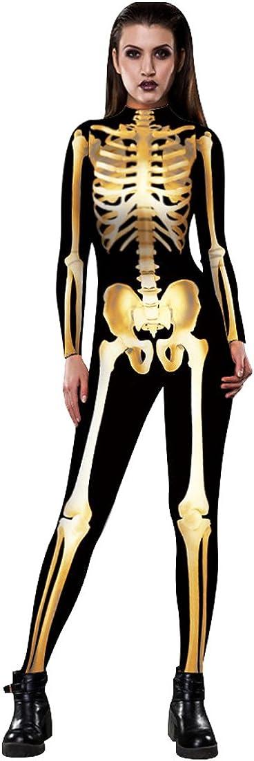 URVIP Women Halloween Skeleton Costume Stretch Skinny Catsuit Jumpsuit Bodysuit