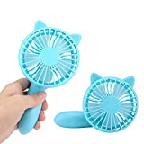 OXOQO Mini Portable Handheld Fan, Personal Folding Desk Desktop Table Electric Battery Quiet USB Fan, Built-in Rechargeable Battery for Room Office Outdoor Travel Camping Car (Blue)