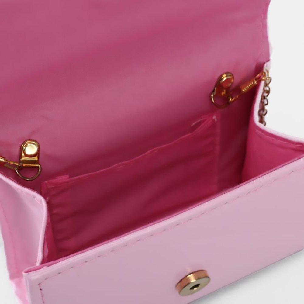 Ladies Classic Elegant Vegan Faux Leather Bag Purse with Chain Strap Clutch