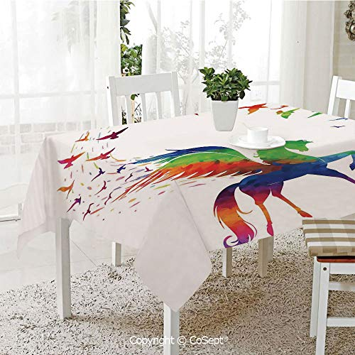 Water Resistant Tablecloth,Pegasus Flying Wings of Birds in Rainbow Colors Inspiration Imagination Design Art Home,Washable Tablecloth Dinner Picnic Table Cloth Home Decoration(60.23