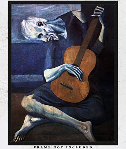 Pablo Picasso The Old Guitarist Painting Reproduction Wall Art Print: Unique Room Decor for Boys, Girls, Men & Women - (11x14) Unframed Picture - Great Gift Idea Under $15