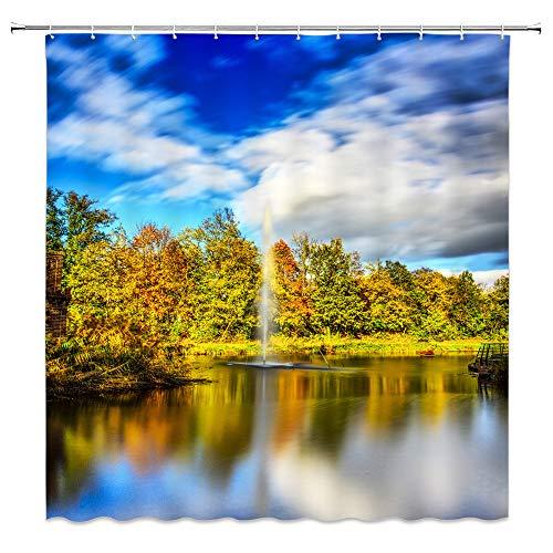 Landscape Shower Curtain Wetland Garden Scene Decor Fountain Forest Blur Sky with Silhouette on Lake Waterproof Blue Green Fabric Bathroom Hooks Included 70x70 - Fabric Wetlands Advantage