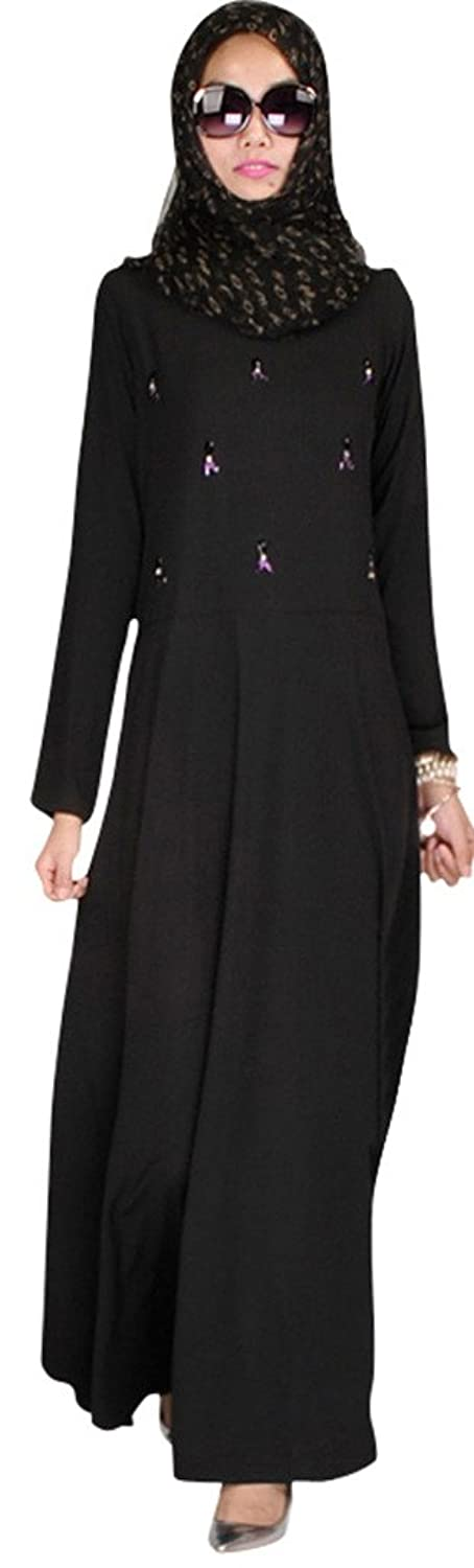 Ababalaya Women's Crystal-studded Bi-stretch Habijabi Abaya Jilbabs