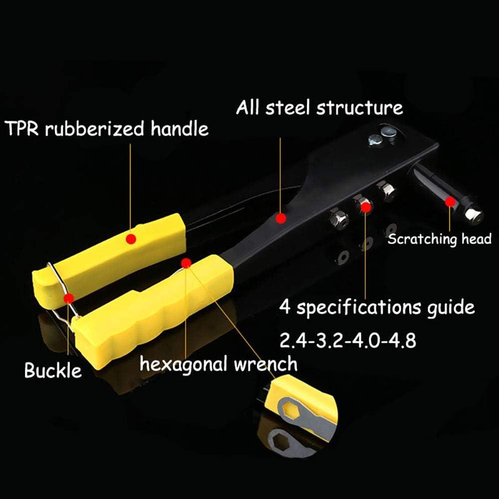 2,4 /à 5 mm Pince /à Riveter Avec 4 Embouts Interchangeables Structure En Acier Durable 24 X 8,3 X 2,7 cm Pince /à Levier Avec Protection de Poign/ée