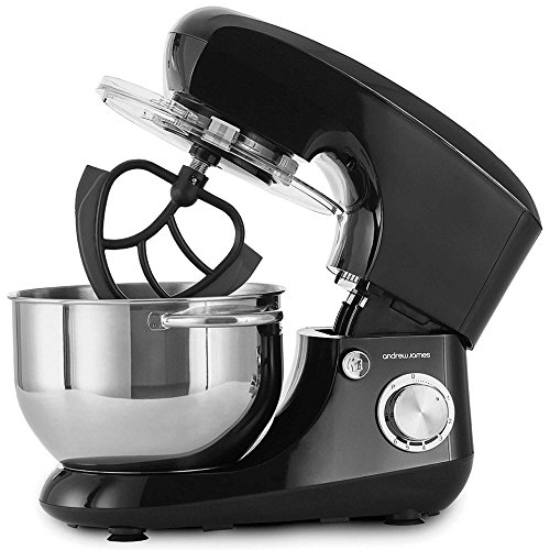 Andrew James Food Mixer Electric Stand Mixer with Large 5.5 Litre Bowl | Includes Stainless Steel Silicone Beaters Dough Hook Balloon Whisk & Spatula | Removable Splash Guard | 6 Speed Settings | 800W