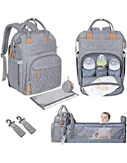 Diaper Bag Backpack with Changing Bed Travel Bassinet Station Soft Changing Pad Large Capacity Multifunctional Pockets Stylish