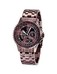 Konigswerk Mens Brown Metal Band Watch Multifunction Crystal Markers AQ101102G