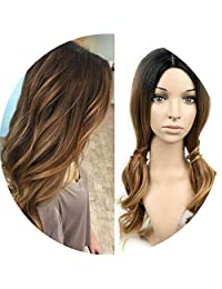 Ash Blonde Ombre Synthetic Wigs High Temperature Fiber Daywear Party Cosplay Long Ombre Wavy Wigs For Black/White Women,GBB17036,26inches