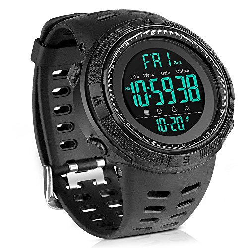 Date Mens Sport Watch - Men's Digital Sport Watch Led Military 50M Waterproof Electronic Wrist Watch with Alarm Stopwatch Dual Time Zone Count Down EL Backlight Calendar Date for Men -All Black