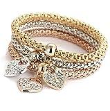 Tri-Color Stretch Corn Chain Diamond-Studded Butterfly Pendant Bracelet Female Jewelry,Heart