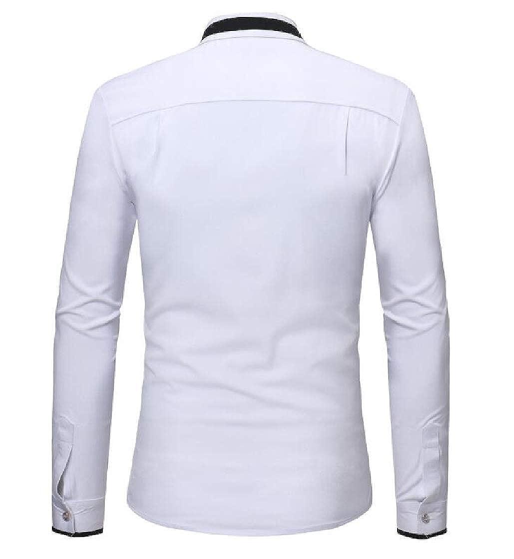 Macondoo Men Fit Stand Collar Long Sleeve Button Down Top Shirt