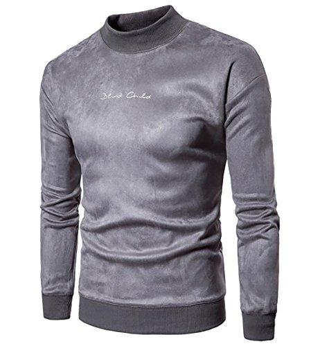 Neck Velvet Mock Casual Warm today Pullover Long Grey UK Men Sweatshirts Sleeve qxIT8