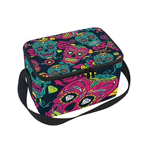 Use4 Colorful Sugar Skull Head Flower Insulated Lunch Bag Tote Bag Cooler Lunchbox for Picnic School Women Men Kids ()