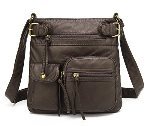 Scarleton Small Multi Pocket Crossbody Bag for Women, Ultra Soft Washed Vegan Leather Shoulder Purse, Coffee, -