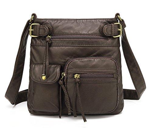 Scarleton Small Multi Pocket Crossbody Bag for Women, Ultra Soft Washed Vegan Leather Shoulder Purse, Coffee, ()
