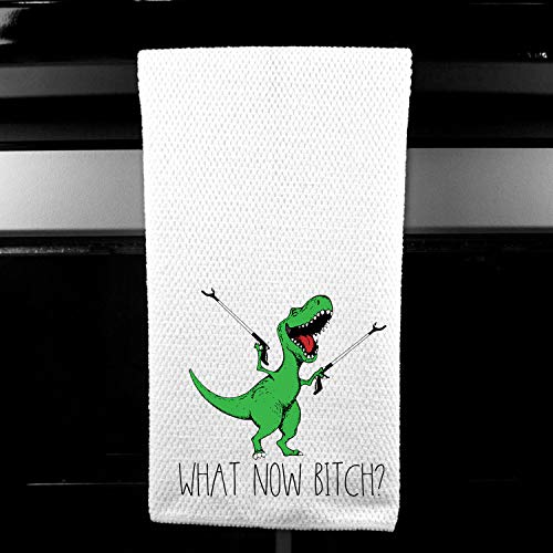 What now, Bitch? T-Rex Dinosaur Adult Funny Kitchen Tea Bar Towel Gift for - Square Womens Whimsical
