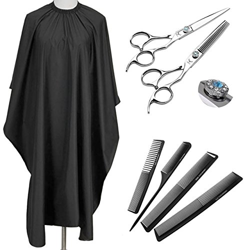 CCbeauty Black PVC Waterproof Phone Viewing Window Hair Cutting Cape + 1 Set Professional Barber Hair Cutting Scissors Shears Thinning Kit by CCbeauty