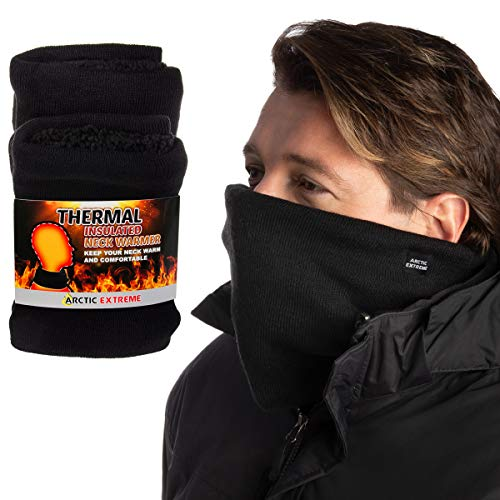 2 Pack Arctic Extreme Thick Heat Trapping Thermal Insulated Fleece Lined Neck Warmers Gaiters Unisex Cold Weather Gear Winter Face Mask, Black, One Size