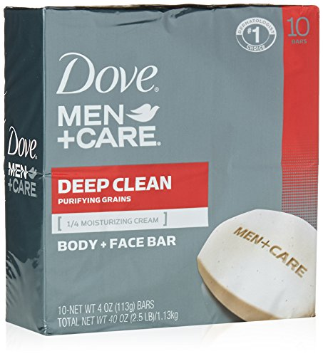 Dove Men+Care Body and Face Bar, Deep Clean 4 oz, 10 (Cleanse Bar)