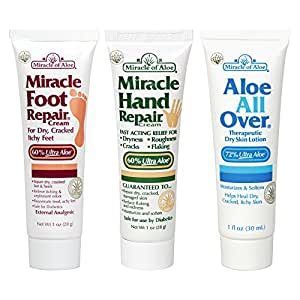 Miracle Assortment 3-Pack - Miracle Foot Repair, Miracle Hand Repair and Aloe All Over
