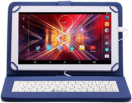 iRULU eXpro 1Plus Tablet (X1Plus), 10.1 pulgadas, Google Android 5.1 Lollipop, Quad Core, 1G RAM, 8GB Nand Flash, Blanco + Caso con teclado con USB, Azul