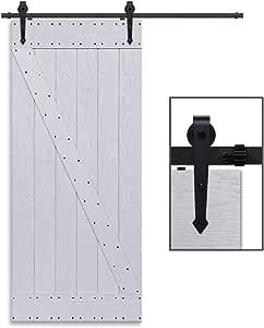 CCJH 6.6FT-200cm Herraje para Puerta Corredera Kit de Accesorios para Puertas Correderas Rueda Riel Juego para Una Puerta de Madera: Amazon.es: Bricolaje y herramientas