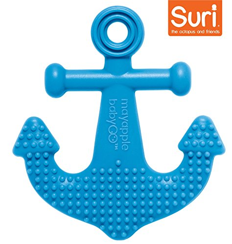 Infant Whale Rattle - Mayapple Baby | Suri the Octopus and Friends Teether - 1 Silicone Teething Toy - Dark Blue Anchor Single - Award-winning, Patented