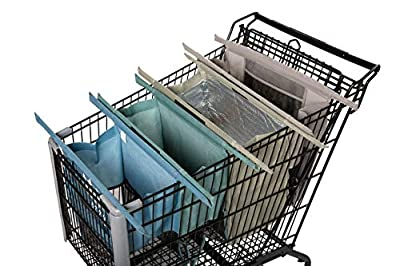 Lotus Trolley Bags -set of 4 -w/LRG COOLER Bag & Egg/Wine holder! Reusable Grocery Cart Bags sized for USA. Eco-friendly 4-Bag Grocery Tote.