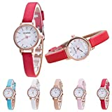 Female Models Fashion Thin Belt Rhinestone Leather band small wrist Watch petite elephant women ladies