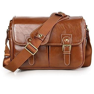 DSLR Camera Bag Waterproof PU Leather Travel Bag Shoulder Bag for Canon Sony Nikon Canon Olympus DSLR Camera(Antique Brown)