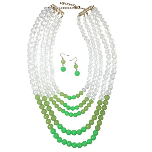(Gypsy Jewels Long 4 Row Layered Bead Statement Necklace & Earrings (Green & Clear))
