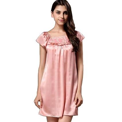 Mujer Primavera y Verano 100% Seda Pura Pijama Vestido de Dormir Bata de baño Suave