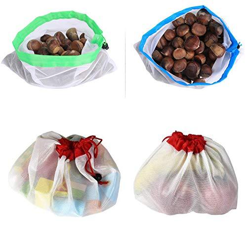 Abilieauty La Poche 12pcs r/éutilisable de Produit de Maille met en Sac la Poche l/ég/ère pour Le Fruit v/ég/étal de Stockage de Jouets