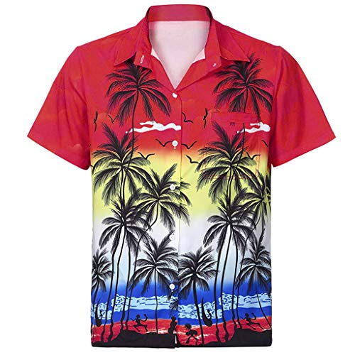 Serzul New!! Men's Regular Fit Camp Palm Tree Shirt Button Down Hawaiian Holiday Top Front-Pocket Beach Floral Print Tee Red