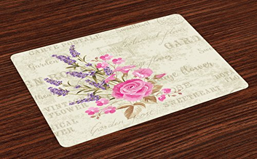 Originals Postmark (Lunarable Lavender Place Mats Set of 4, Postal Stamps and Postmarks Grungy Backdrop Romantic Bridal Corsage, Washable Fabric Placemats for Dining Room Kitchen Table Decoration, Pale Pink Lavender Tan)