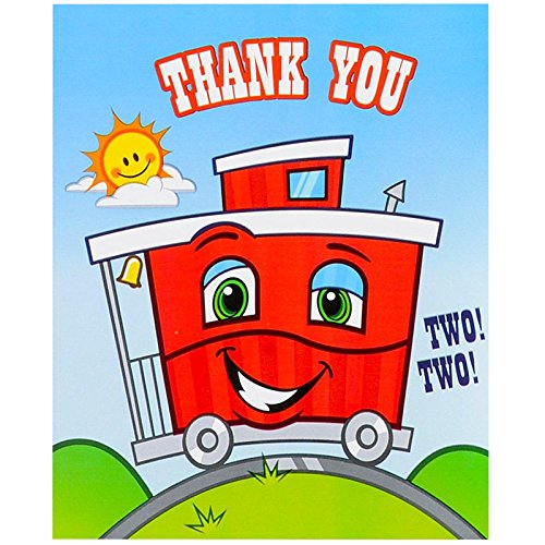 2nd Birthday Train Party Supplies - Thank-You Notes (8)]()