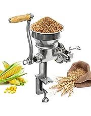 Biltek Professional Manual Grain Grinder - Table Clamp Corn Mill with Hopper, Cast Iron