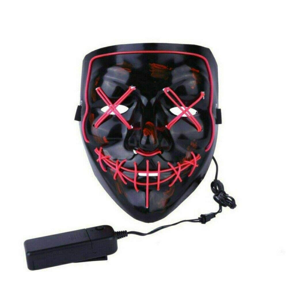 Tagital Halloween Mask LED Light Up Funny Masks The Purge Movie Scary Festival Costume Pink by Tagital