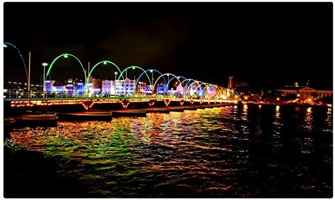 Países Bajos casas ríos puentes noche calle luces Willemstad Curacao ciudades sitios de viajes postal Post tarjeta: Amazon.es: Oficina y papelería
