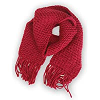 Learn to Knit Kit, Diy Kit for A Chunky Knit Scarf, Beginner Level Oversized Scarf, Women Scarf in Red Color - Kit Includes All the Materials Needed