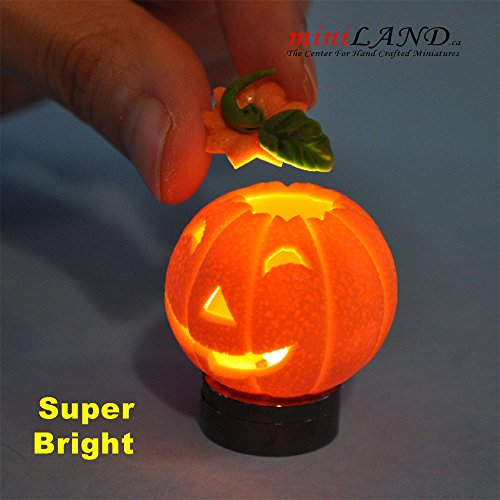 Halloween Pumpkin bright battery LED LAMP on/off switch hop01 for dollhouse miniature 1:12 scale