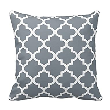 Slate Gray and White Decorative Cushion Covers Throw Pillow Case Moroccan Quatrefoil Pattern Print Square Two Sides 16X16 Inch