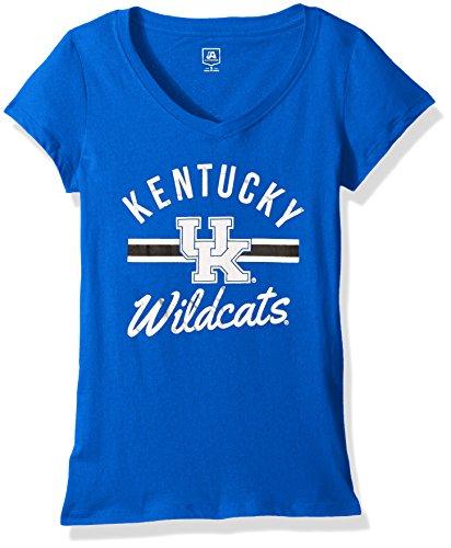 Kentucky Wildcats Tee - J America NCAA Kentucky Wildcats Women's School Spirit Stripe Essential Tee, Royal, Medium
