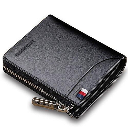 LAORENTOU Men Genuine Leather Wallet Fashion Pocket Short Wallet Card Holder for Man (Black)